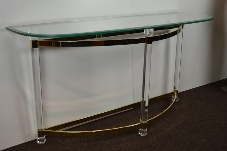 Faceted 1970s Hollywood Regency Lucite, Brass and Glass Console Table For Sale