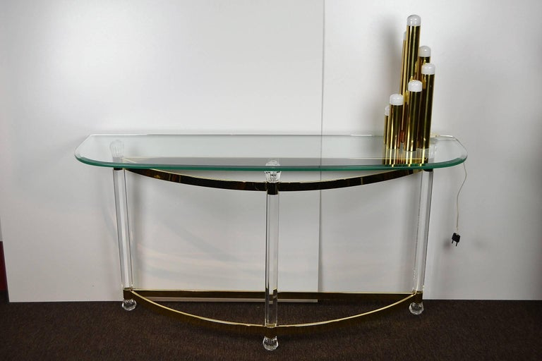 1970s Hollywood Regency Lucite, Brass and Glass Console Table For Sale 3