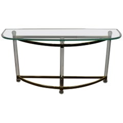 1970s Hollywood Regency Lucite, Brass and Glass Console Table