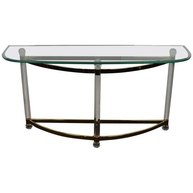 1970s Hollywood Regency Lucite, Brass and Glass Console Table For Sale