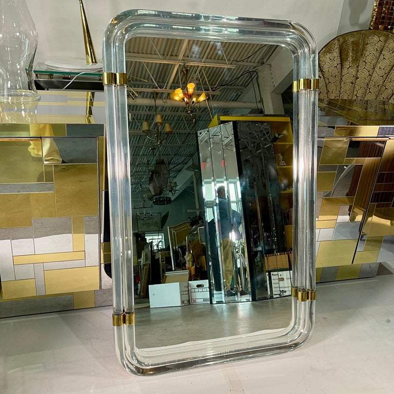 1970s Hollywood Regency Mirror with Lucite Rods and Gilt Brass For Sale 5