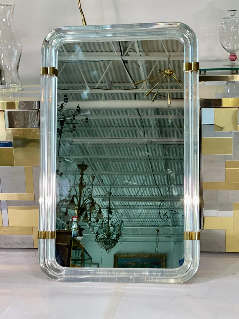 American 1970s Hollywood Regency Mirror with Lucite Rods and Gilt Brass For Sale