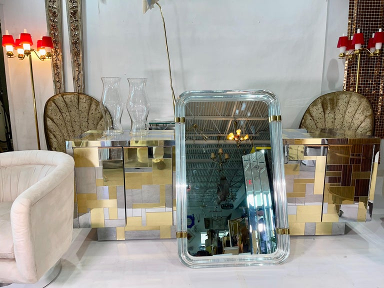 1970s Hollywood Regency Mirror with Lucite Rods and Gilt Brass In Good Condition For Sale In Hingham, MA