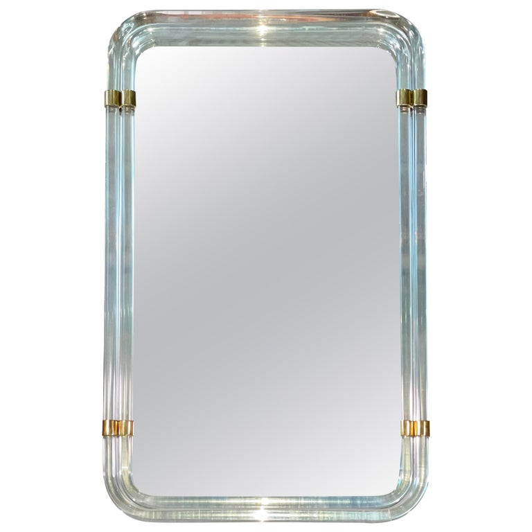 1970s Hollywood Regency Mirror with Lucite Rods and Gilt Brass For Sale