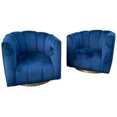 1970s Hollywood Regency Swivel Chairs