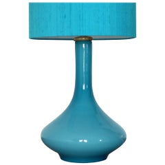 1970s Holmegaard of Sweden Hand Blown Glass Table Lamp in Rare Blue Colorway