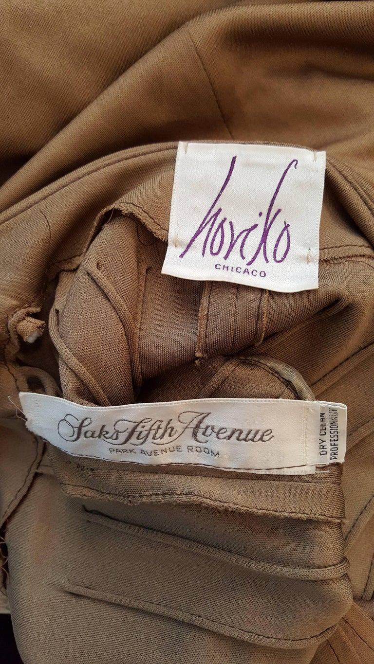 Women's 1970s Horiko for Saks Fifth Avenue Olive Toned Silk Jersey 2 Piece Skirt Suit  For Sale