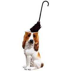 1970s Hound Dog Italian Porcelain Umbrella Stand