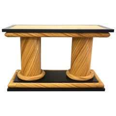 1970s Howard Dilday Organic Rattan Console Table with Black Lacquer Border