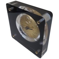 1970s Howard Miller Table Desk Clock in Lucite Block with Gold Dial