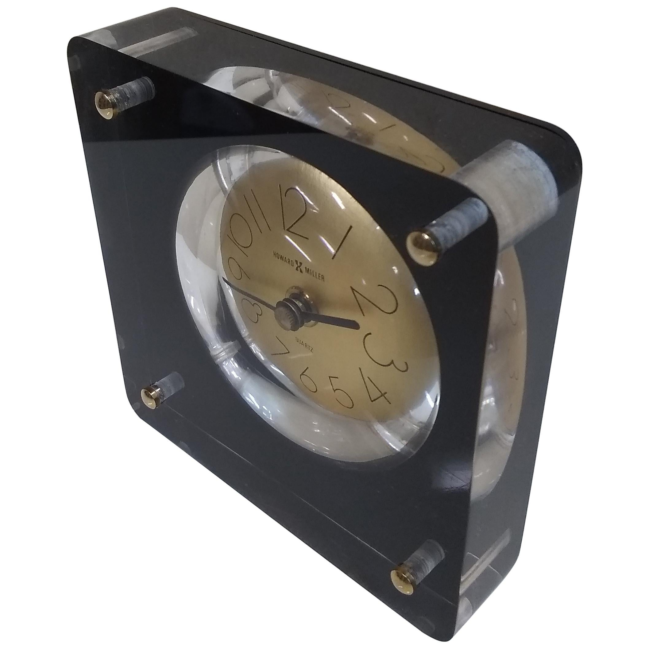 1970s Howard Miller Table Desk Clock In Lucite Block With Gold Dial For Sale