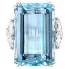 1970s H.Stern 18 Karat White Gold with Aquamarine and Diamonds Ring