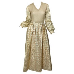 1970s Huey Waltzer for Mannequin Gold Metallic Knit + Silk Vintage Maxi Dress