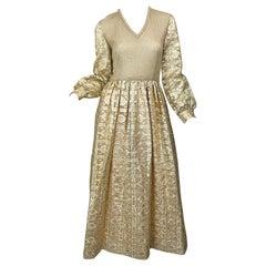 1970s Huey Waltzer for Mannequin Gold Metallic Knit + Silk Vintage Maxi Dress