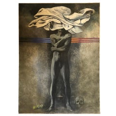 1970s Huge Metaphysic Italian Oil on Canvas by Silvio Benedetto