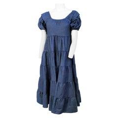 1970s I. Magnin Denim Empire-waisted Dress