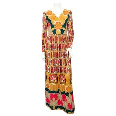 1970's I .Magnin Knit Jersey Printed Dress