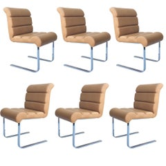1970s i4 Mariani for Pace Collection Lugano Leather Dining Chairs, Set of 8