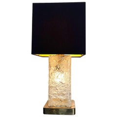 """1970s 'Ice"""" Lamp by Hillebrand with Central Light Inside the Glass Stem"""