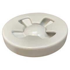 1970s Iconic Mangiarotti White Ceramic Ashtray Manufactured by Brambilla