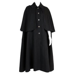 1970s Iconic Yves Saint Laurent Black Wool Cape