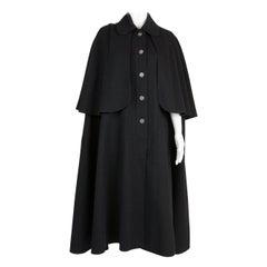 1970s Iconic Yves Saint Laurent Black Wool Cape