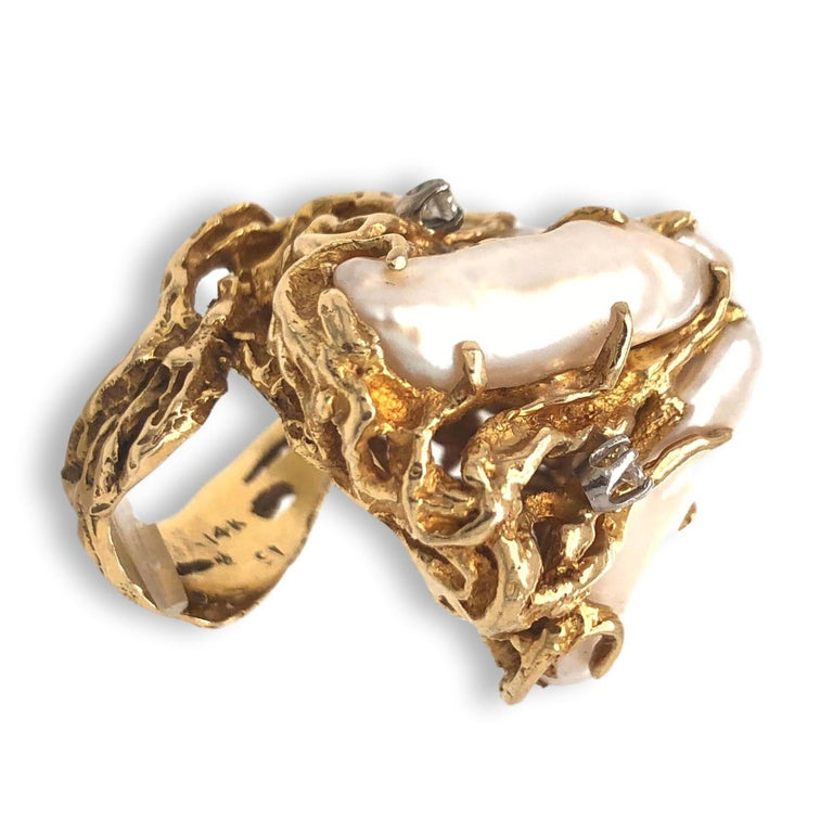 Modernist 1970s Impressive Pearl and Diamond Statement Ring For Sale