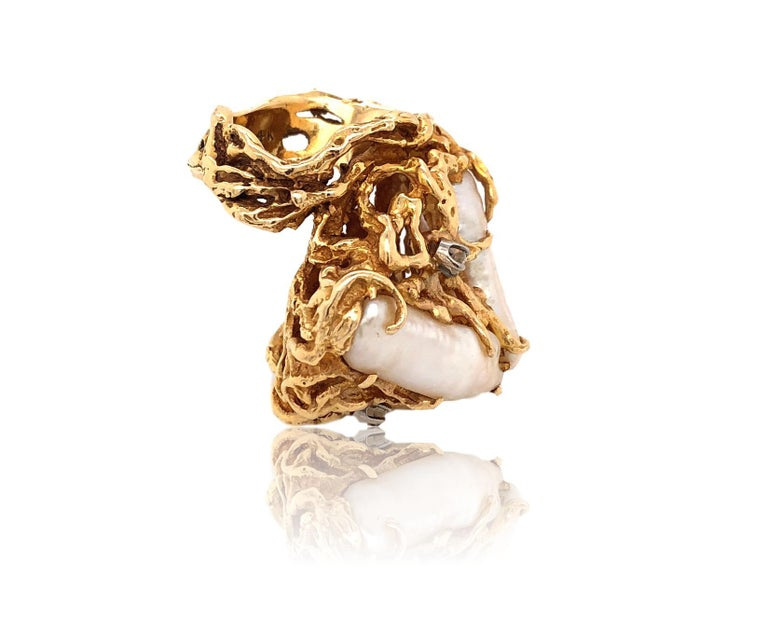 Women's 1970s Impressive Pearl and Diamond Statement Ring For Sale
