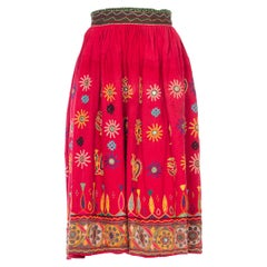 1970S Indian Cotton Hand Embroidered Skirt With Glass Mirrors