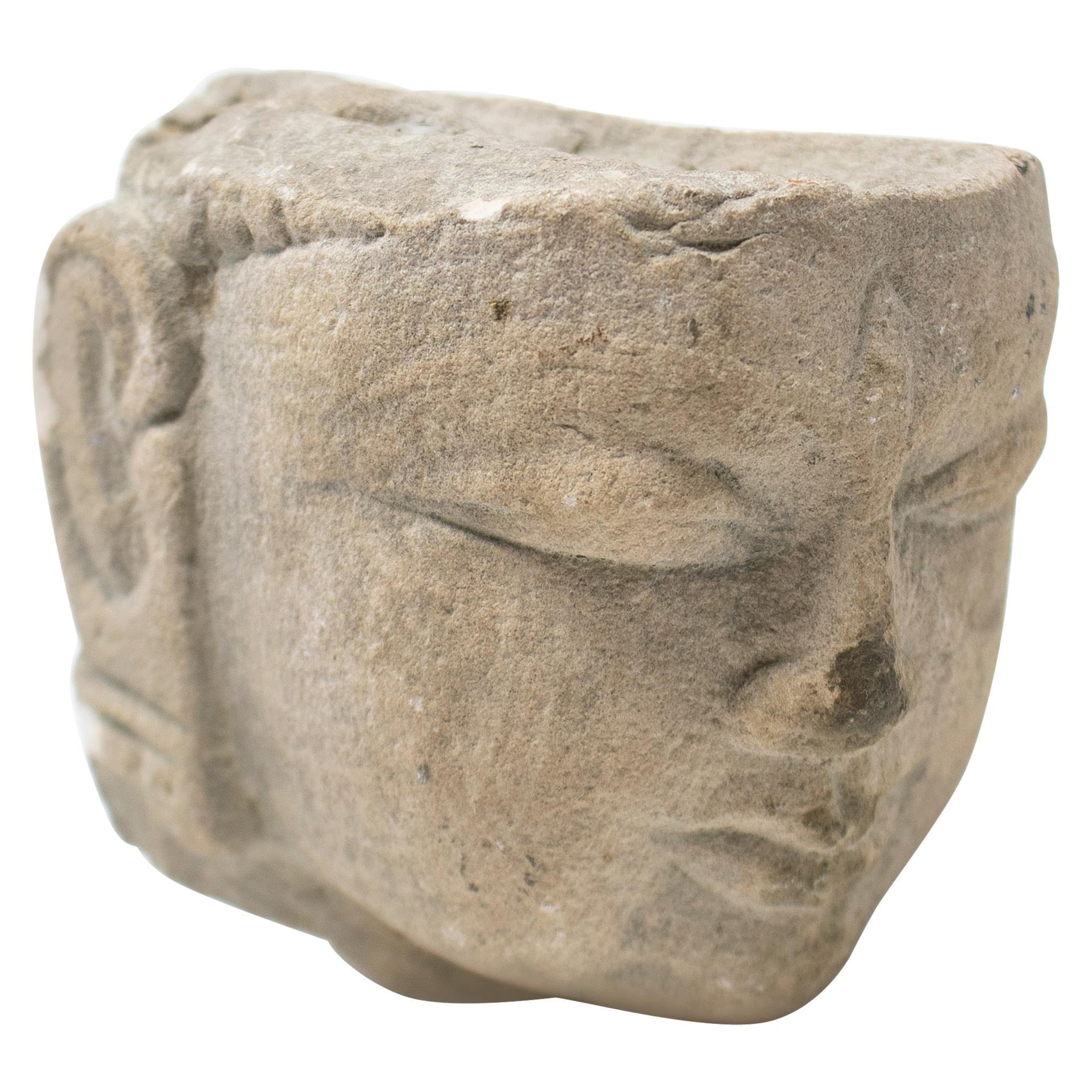 1970s Indian Khajuraho Love Temples Hand Carved Sandstone Buddha Head Sculpture