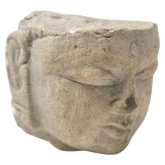1970s Indian Khajuraho Love Temples Hand Carved Sandstone Buddha Head Sculpture