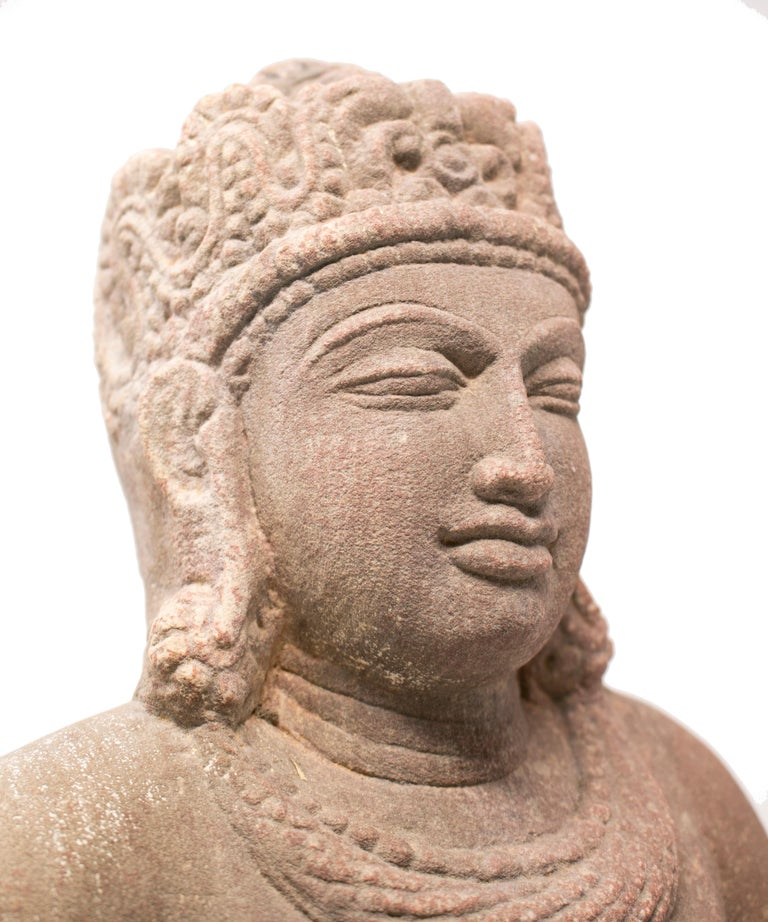 1970s Indian Khajuraho Love Temples Torso Hand Carved Sandstone Sculpture For Sale 6