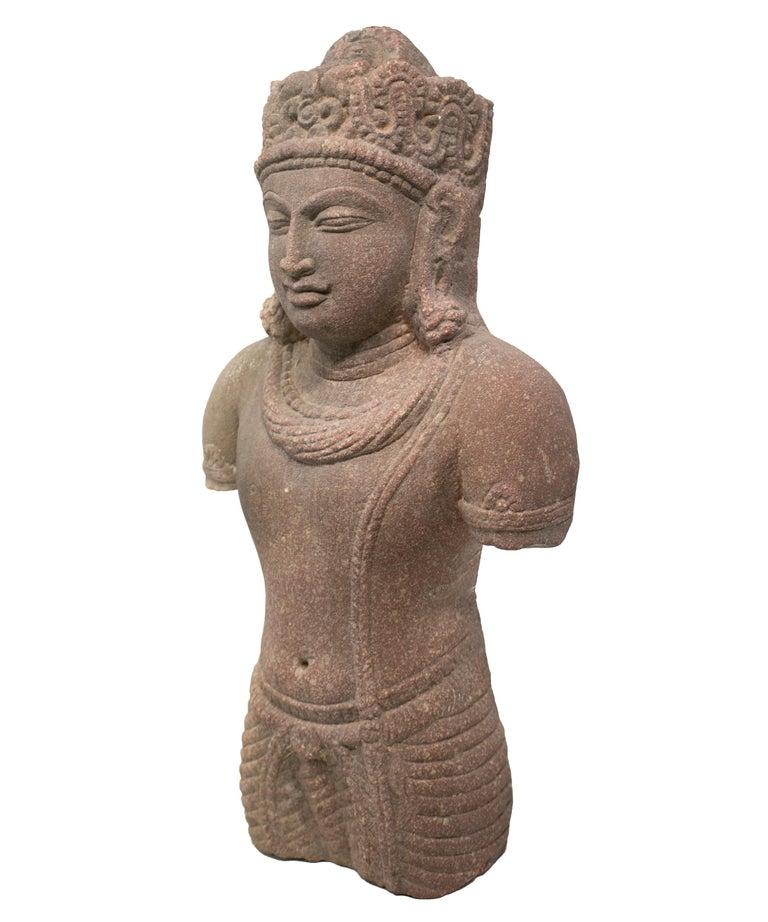 1970s Indian Khajuraho love temples torso hand carved sandstone sculpture.