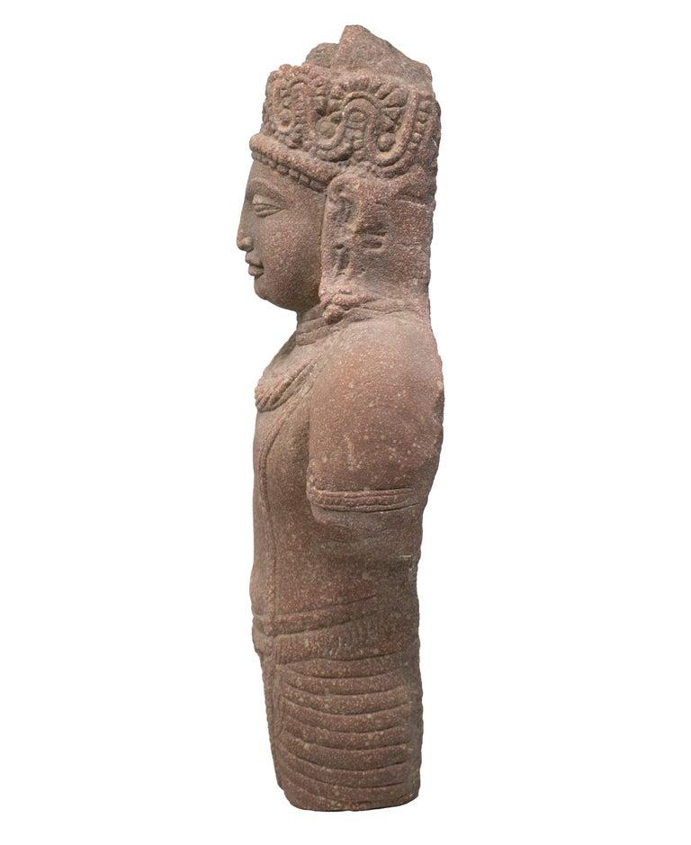 Hand-Carved 1970s Indian Khajuraho Love Temples Torso Hand Carved Sandstone Sculpture For Sale