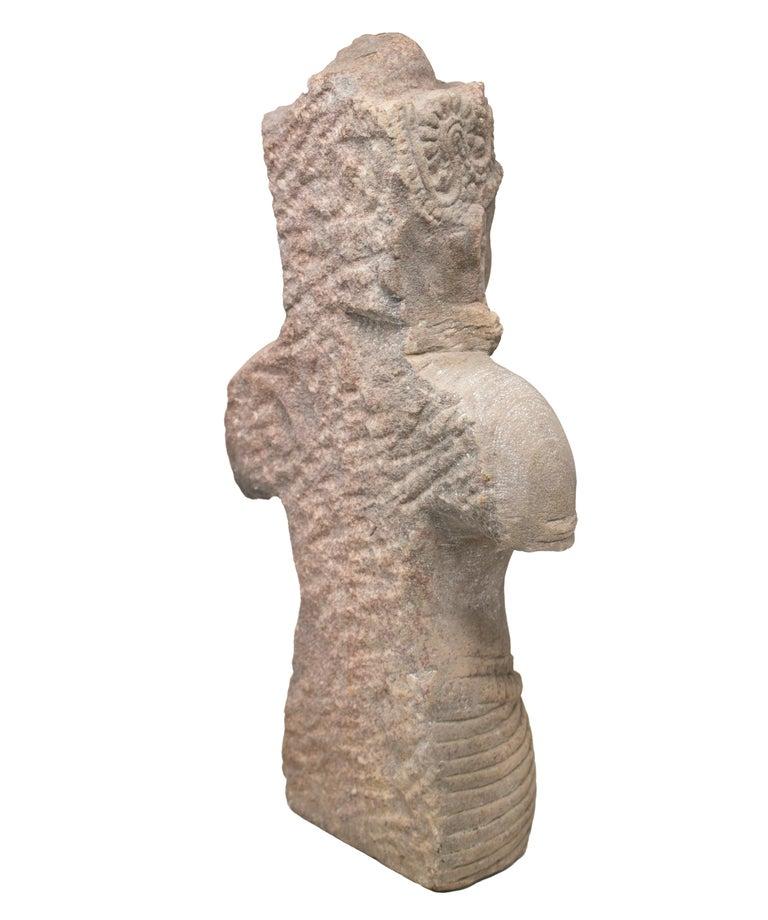 Stone 1970s Indian Khajuraho Love Temples Torso Hand Carved Sandstone Sculpture For Sale