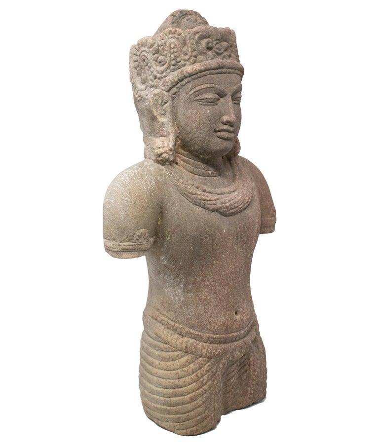 1970s Indian Khajuraho Love Temples Torso Hand Carved Sandstone Sculpture For Sale 1