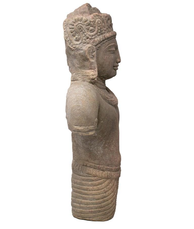 1970s Indian Khajuraho Love Temples Torso Hand Carved Sandstone Sculpture For Sale 2