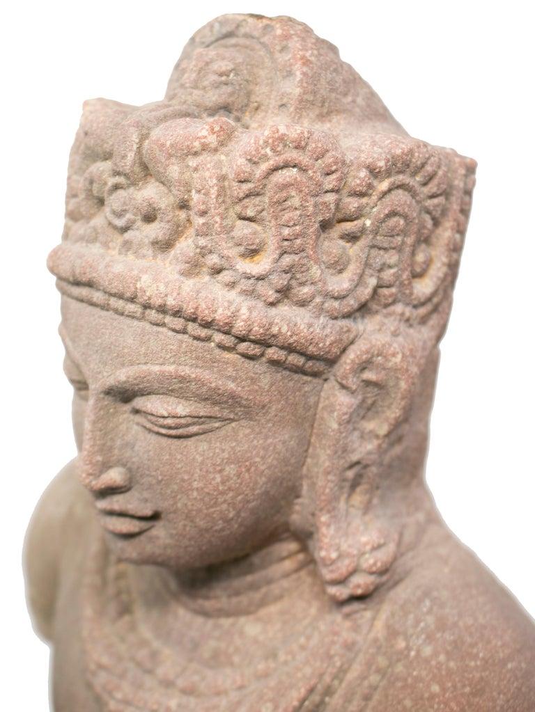 1970s Indian Khajuraho Love Temples Torso Hand Carved Sandstone Sculpture For Sale 3