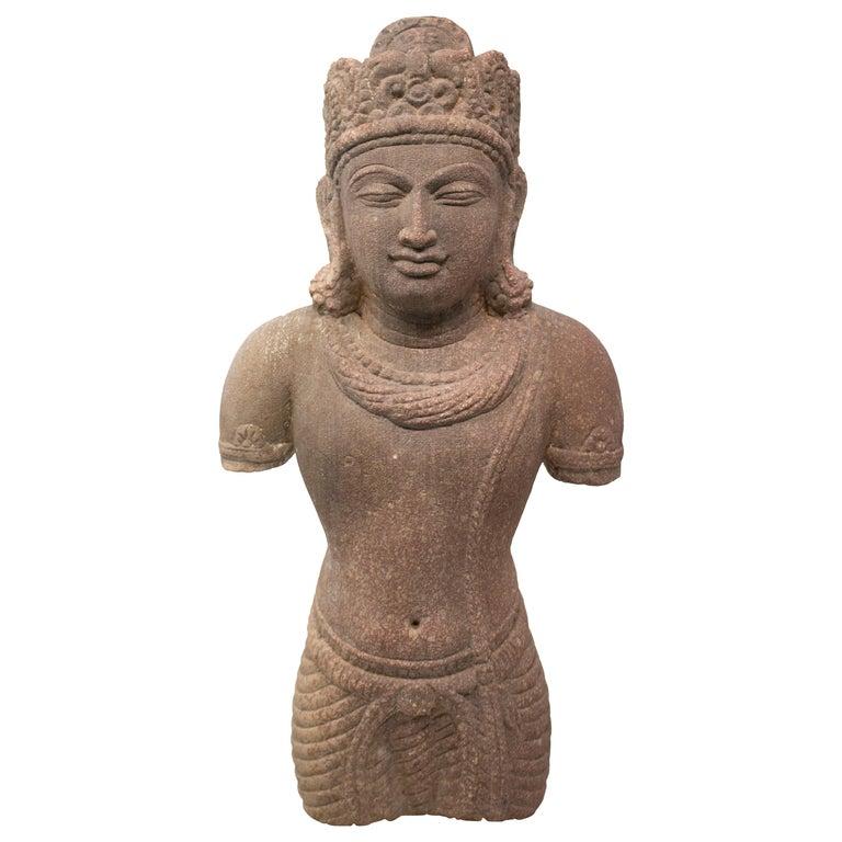 1970s Indian Khajuraho Love Temples Torso Hand Carved Sandstone Sculpture For Sale