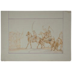 1970s Indian Mughal Gouache Paper Drawing Depicting Military Horsemen