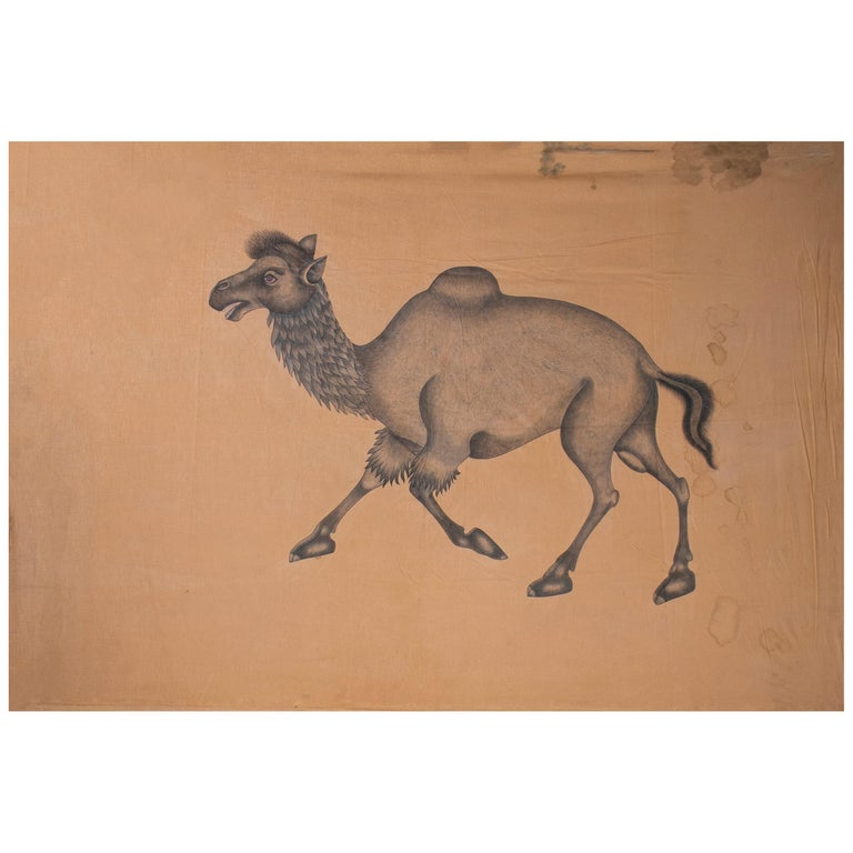 """1970s Indian Painting """"Walking Camel"""" Oil on Canvas, Jaime Parlade Design For Sale"""
