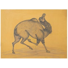 "1970s Indian Painting ""Walking Camel"" Oil on Canvas, Jaime Parlade Design"