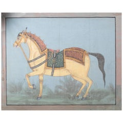 """1970s Indian Painting """"Walking Horse"""" Oil on Canvas, Jaime Parlade Design"""
