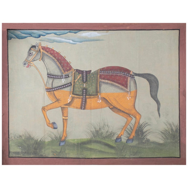 """1970s Indian Painting """"Walking Horse"""" Oil on Canvas, Jaime Parlade Design For Sale"""