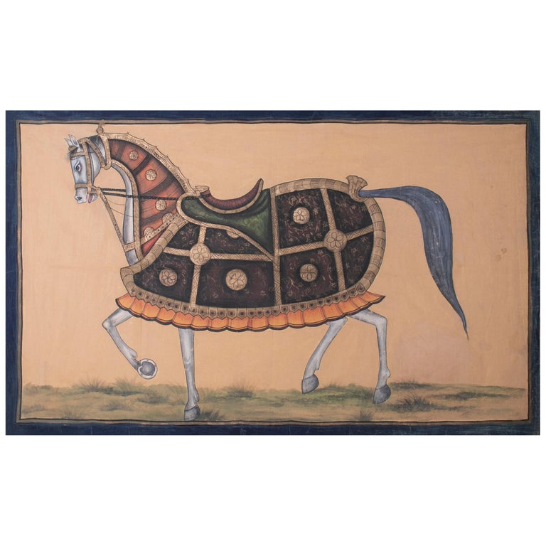 "1970s Indian Painting ""Walking Horse"" Oil on Canvas, Jaime Parlade Design For Sale"