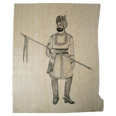 1970s Indian Paper Drawing of a Hindu Man with a Spear