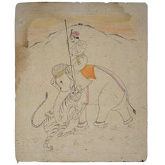 1970s Indian Paper Drawing of a Man Riding an Elephant