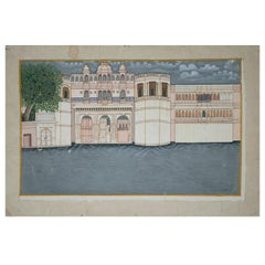 1970s Indian Paper Drawing of a Palace