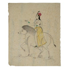 1970s Indian Paper Drawing of a Woman Riding a Tapir