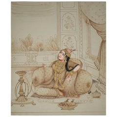 1970s Indian Paper Drawing of a Woman Sitting in a Palace Room